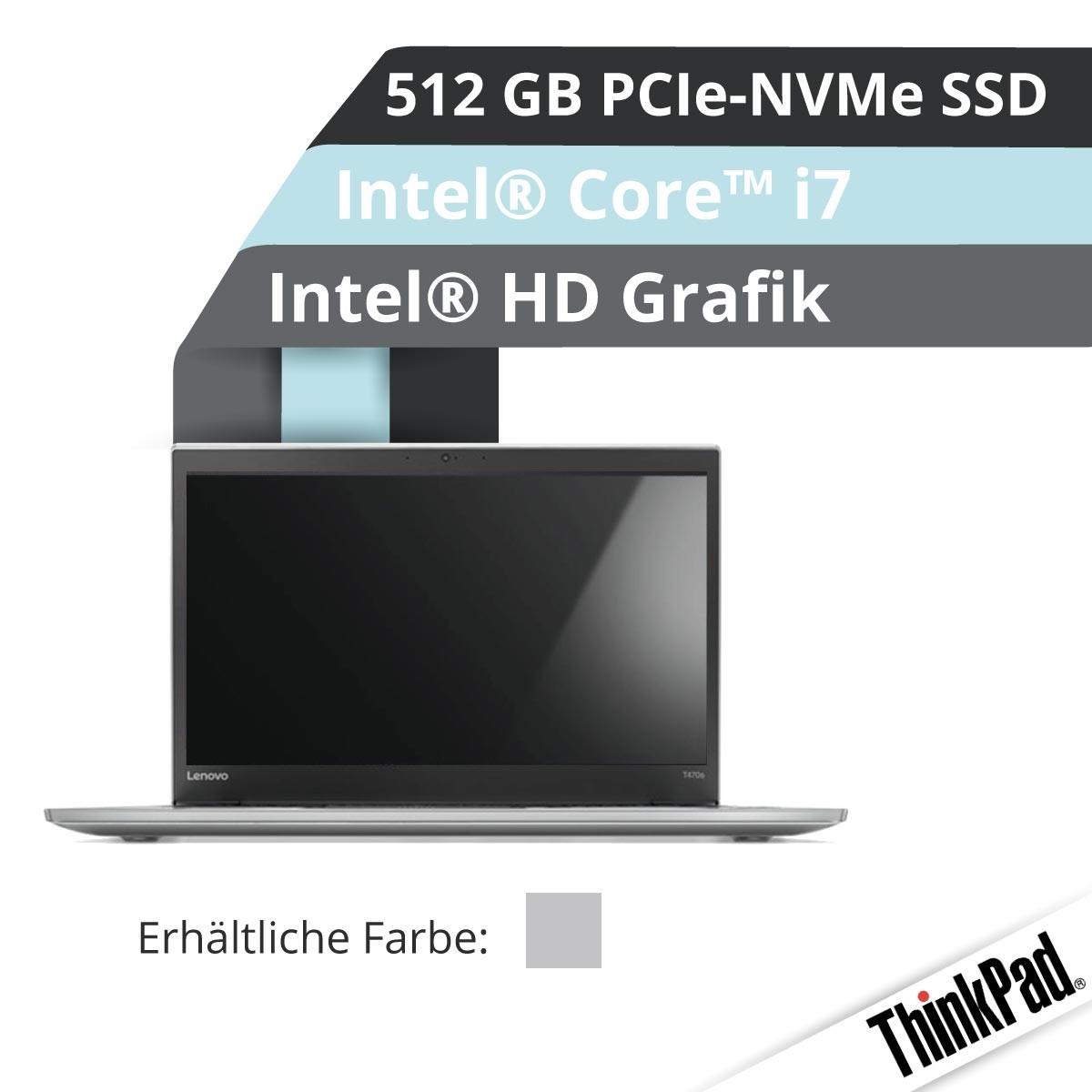 (EOL) Lenovo™ ThinkPad® T470s Notebook Modell 20HG-S1S2 (Silber)